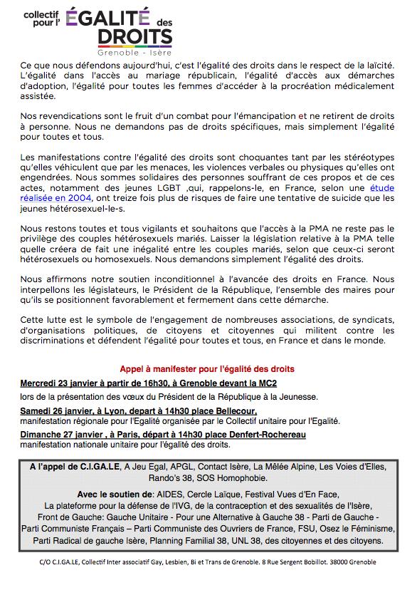 Communique égalite des droits - janvier 2013