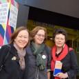 La sociologue Irène Théry (à gauche) après avoir donné une conférence sur l'homoparentalité, Festival Vues d'en face, dimanche 12 avril 2015